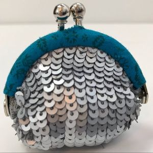 Free People silver blue sequins coin purse kiss